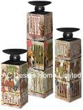 S/3 de la Torre Eiffel Vintage diseño antiguo de madera MDF/Metal del cilindro de la etiqueta de papel Portavelas cuadrados