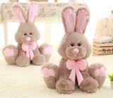 Venda a quente a forma de coelho com bordados e logotipo da Impressão Plushed Brinquedos