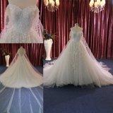 Trem longo nupcial de perolização pesado gama alta feito sob encomenda do vestido de casamento do vestido
