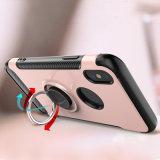 iPhone Xのための二重層のKistandの電話箱のハイブリッド移動式カバー