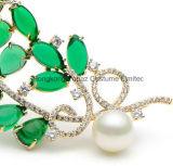 بلّوريّة نحاسة اللون الأخضر [سمي-برسووس] حجارة زهرة تظاهر دبوس الزينة لأنّ نساء لؤلؤة أوراق دبوس الزينة دبابيس ([إب03])