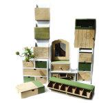 Rectángulo dominante de madera de la nueva pared respetuosa del medio ambiente del diseño con los ganchos de leva