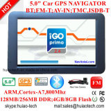 """최신 5.0 """" 주춤함 6.0 GPS 항해 체계, 주차 사진기를 위한AV 에서 FM 전송기를 가진 차 GPS 항법, GPS 지도를 추적하는 Bluetooth GPS 항해자 토요일 Nav, Tmc"""