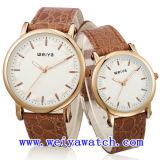 Relógio luxuoso do negócio da promoção do relógio da cinta de couro com unisex (WY-1082GC)