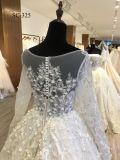 デザインステレオのFlowerembellishmentの新しい長い袖のイスラム教のウェディングドレス