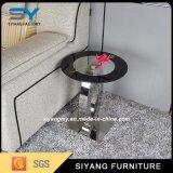 Büro-seitlicher Tisch mit Edelstahl-Bein-Glasenden-Tisch