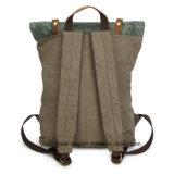 Neue Ankunfts-Weinlese gewaschener Segeltuch-Leder-Rucksack, weiches große Kapazitäts-Leder-Segeltuch, das Rucksack-Großverkauf wandert