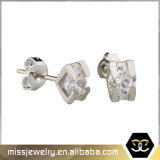 Cubic Zirconia piedra única Gold Stud Earrings Mjce024
