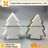I mestieri decorativi della decorazione di natale di figura di ceramica dell'albero di Natale con oro hanno placcato