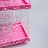Couleur rose transparente tournant l'étalage acrylique de support de rouge à lievres de 78 compartiments