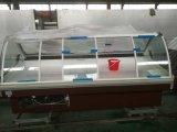スーパーマーケットによって曲げられるガラスドア肉冷却装置ショーケース