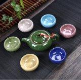 中国の工場価格の最も熱く多彩な氷のひびの磁器のティーセット