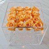 Pacote acrílico personalizado da flor da caixa da flor de 16 Rosa com gaveta