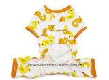 Sunmmer 노란 오리 만화 개 t-셔츠 100%년 면 t-셔츠 작은 개 셔츠 연약한 복장 애완 동물 제품