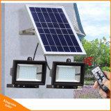 Lumière d'inondation solaire de DEL avec deux lampes d'inondation pour le réverbère extérieur de jardin