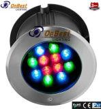 LED de saída de fábrica RGB LED de 12 W luz subterrâneo no IP67