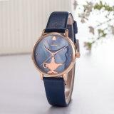Reloj de manera de la mujer del regalo de los cuartos de galón de la correa de cuero del ODM del OEM del servicio de encargo del reloj (Wy-125A)