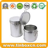 Stagno rotondo chiuso ermeticamente provvisto di cardini del tè per memoria della scatola metallica del tè del metallo