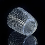 sostenedores de vela del vidrio cristalino 310ml con el modelo tejido