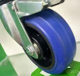150mm*50mm blaue elastische Gummiverlegenheits-Fußrolle für Hilfsmittel-Karre