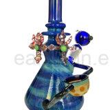 Hand van de Waterpijpen van het Glas van de Luxe van de Beker van Hitman van Zob de Kleurrijke Mooie Blauwe Kleurrijke - de gemaakte Olie van de Installatie van de SCHAR (S-GB-250)