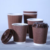 12oz 커피 뚜껑을%s 가진 수평한 잔물결 벽 종이컵