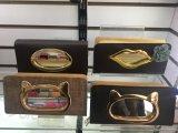 De la mujer del embrague de cuero de PU Titular de la tarjeta monedero Bolso Bolso con diseño en vidrio