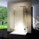 Coin carré de cadre de douche d'acier inoxydable de Frameless Hingd de salle de bains