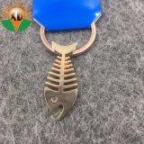 Le métal Cuivre os de poissons de la chaîne de clé pour l'Association de l'océan (XD-634)