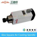 Мотор шпинделя изготовления 6kw квадратным охлаженный воздухом высокоскоростной трехфазный асинхронный для деревянного высекая маршрутизатора CNC