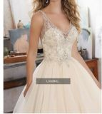 2017 Bordados com Filete bola de cristal Beca Suite Wedding vestidos WM1705