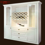 Antique Carved Wholesale Wood Wine White Cabinet Rack (GSP19-018)