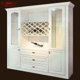 骨董品によって切り分けられる卸し売り木製のワインの白いキャビネットラック(GSP19-018)