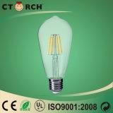 Aluminio del vidrio de la serie 6W de la luz T del filamento del LED