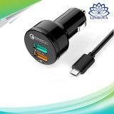 Для Aukey Qualcomm быстрое зарядное устройство 3.0 с двумя портами Mini автомобильного зарядного устройства USB с кабелем