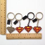 Promotie Gift - Sleutelringen van Keychain van het Ontwerp van Customerized van de Ringen van de Kettingen van het Metaal van de Superman de Zeer belangrijke