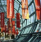 Kundenspezifische preiswerte hängende bekanntmachende Polyester-Silk Gewebe-Fahnen für Dekoration