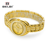 Superficiales romanos ovales del reloj del cuarzo del reloj de oro del acero inoxidable de las mujeres de Belbi impermeabilizan el reloj