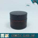 vaso di vetro crema cosmetico ambrato 50ml