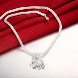 De hete Halsband van de Tegenhanger van Zircon van de Vorm van het Hart van de Halsband van de Keten van de Verkoop Buitenlandse Verdraaide Echte Staal Geplateerde