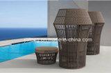Nouvelle conception de meubles de jardin extérieur Chaise synthétique en rotin Lover avec tablette otomane et table basse (YT1053)