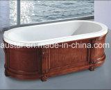 vasca da bagno moderna di ellisse di 1700mm con la bordatura di legno solido (AT-LW019-1M)