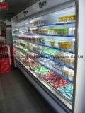 Refrigerador abierto de la visualización del supermercado de la cortina de aire del refrigerador
