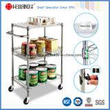 NSF métal chromé sur le fil de la cuisine panier Chariot de stockage des aliments