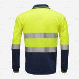 De hoge Weerspiegelende Werkende Kleding van het Overhemd van het Polo van de Koker van Safetywear van de Band Lange