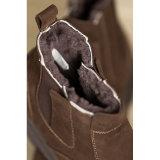 Stivali in pelle scamosciata degli uomini della caviglia shearling-foderato