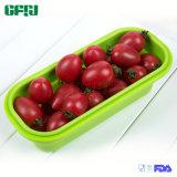 BPA silicona plegable libre de la caja de almuerzo de comidas con kit de composición Dos Tenedor Cuchara Built-in