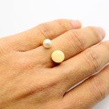 316L monili reali dell'anello di apertura della perla dell'oro dell'acciaio 18k