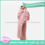 Couverture molle d'acrylique d'écharpe de polyester de la Chine de crochet de laines