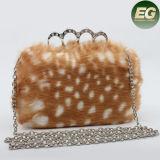 流行ベストセラーの女性及び金属のハンドルEb846が付いている優雅な擬似ウサギの毛皮のイブニング・バッグ